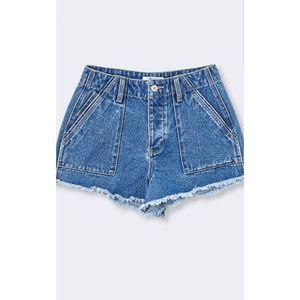 5-Pocket Frayed High Rise Denim Shorts